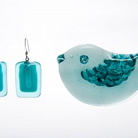 Bird Brooch and Earrings
