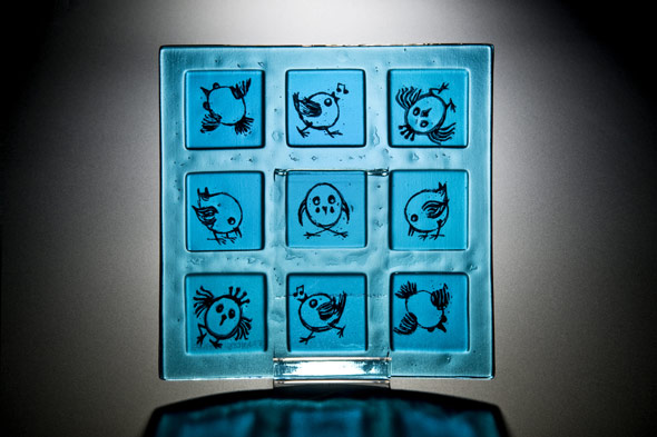 Platter in Kiln Formed Glass With Screen Printing.